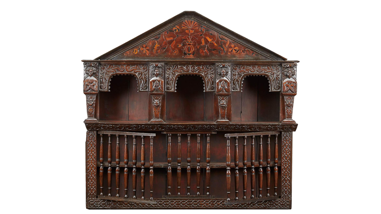 Charles I Oak And Inlaid Wall Cupboard, English, Yorkshire